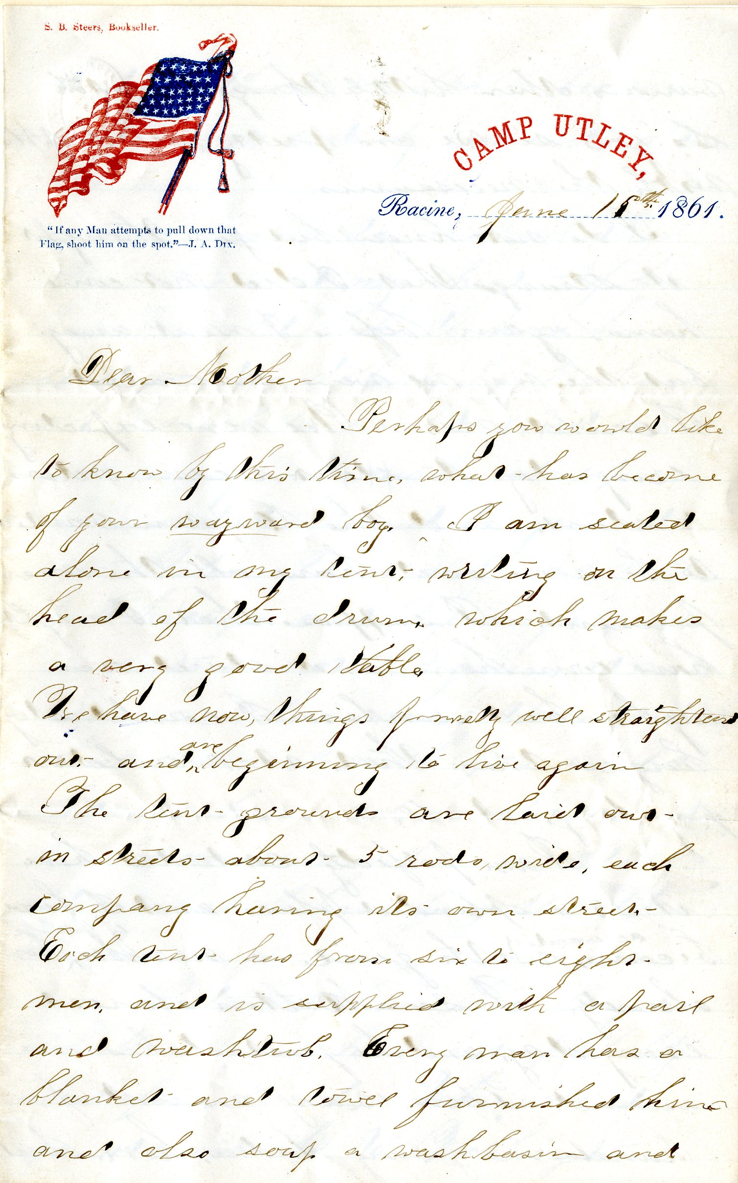 this is an 1861 letter written by a civil war soldier